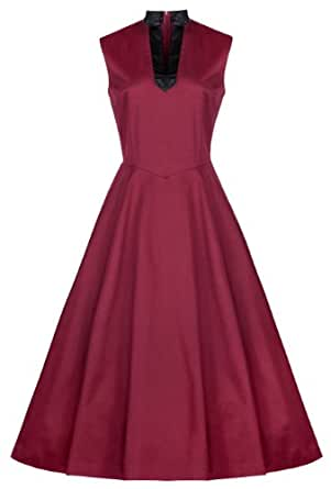 Lindy Bop 'Callie' Classy 1950's Vintage Calf Length Party Evening Dress (18, Burgundy)