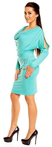 Zeta Ville - Robe fourreau à col bénitier - fente bas de manches - femme - 916z Menthe