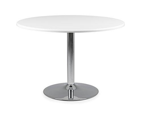 TENZO 3120-001 Soft Designer Table Ronde Panneaux MDF/Acier Blanc/Chrome 110 x 110 x 74,5 cm