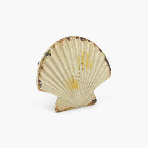 Metallweinlese-Creme-Muschel Sea Shell Schrankknöpfe, Schrank-Zubehör Knöpfe, Kabinettgriffe, für Türen, Schubladen, Möbel und Küchen 4.2 cm Durchmesser, 3.2 cm Stablänge