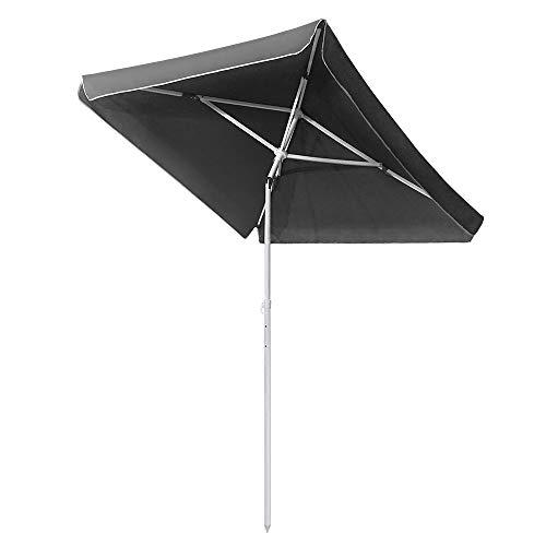UISEBRT 200X125cm Sonnenschirm Strand Rechteckig Knickbar UV Schutz 50+ - Dunkelgrau Gartenschirm Terrassenschirm Marktschirm für Balkon, Garten, Terrasse (Dunkelgrau)