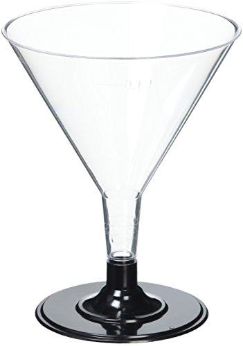 Drinkstuff Lot de 12 verres à martini jetables en plastique Transparent avec base Noir 150 ml