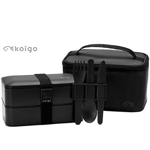 Koïgo Original Bento Lunch Box Nero, Set di 3 Posate, Borsa Termica I Porta Pranzo con 2 Contenitori Ermetici (2x600 ml) I senza BPA I Adatto a Lavastoviglie e Forno a Microonde I Ideale per Adulto
