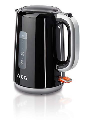 AEG EWA 3300 Wasserkocher (2200 Watt, 1,7 l, entnehmbarer Kalkfilter, Wasserstandsanzeige mit Liter-/Tassenangabe, Sicherheitsabschaltung, Ein/Aus-Schalter, Einhand-Deckelöffnung, schwarz)
