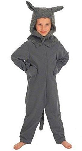 isex Kostüm Großer Böser Wolf Halloween Outfit - Grau, 8-10 Jahr (Böse Kostüme Für Halloween)