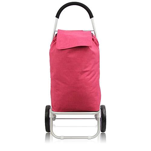 1PLUS Premium Einkaufstrolley Einkaufsroller Aluminium mit abnehmbarer Tasche normaler Bereifung und 3+3 Reifen zum Treppensteigen versch Designs und Farben (Aluminium Gestell - Tasche: Dunkelrot)