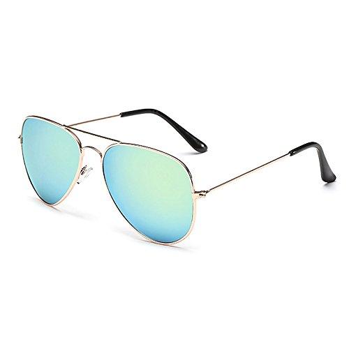 Eye-nak Sonnenbrille Fliegerbrille Brille Farbkombinationen Klassische Pilotenbrille Verspiegelt Unisex Sonnenbrille Damen Herren Pornobrille Sonne Sommer (C5- Rahmen Gold - Glas Hellbau verspiegelt)