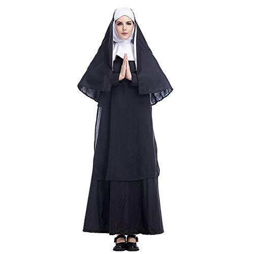CN Halloween Kostüm Cos Jesus Christus Männliche Missionar Priester Kostüm Priester Marian Nonne Kostüm Rolle Spielen,Schwarz,XXL