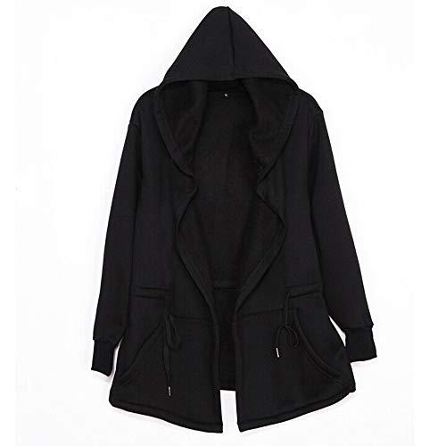 feiXIANG Damen Herren Jacket Winter Unisex Long Cardigan Kapuzenjacke Einfarbig Sweatjacket Windbreaker (Schwarz,L)