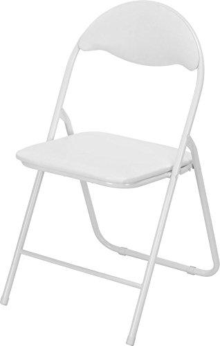 Klappstuhl Metall - weiß - mit Kunststoffpolster und - Weiß Klappstühle