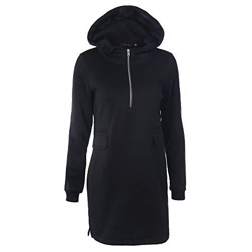 TOPGIFTS Zip Hood Long Damen Lange Sweatjacke Kapuzenjacke Sweatshirtjacke Mit Kapuze Und Fleece-Innenseite Hoodie Damen Pullover Kapuzenpullover Langarm Sweatshirt Jacke Mantel Outwear (Chambray-mantel)