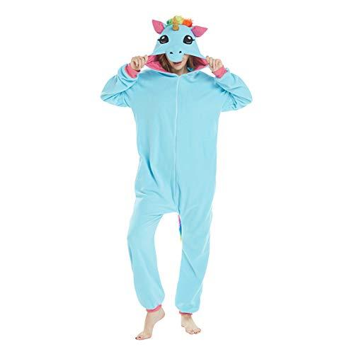 Damen/Herren Cartoon Kostüm- Jumpsuit Overall Schlafanzug Pyjamas Einteiler, Eisblau Pegasus mit Gold Horn, XL für Körpergröße 178-188CM ()