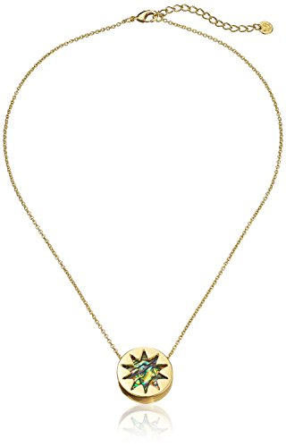 House of Harlow 1960 Gold-Tone Mini Sunburst Abalone Ciondolo Collana