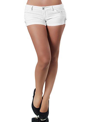 n Stoffhose Kurze Hose Sommerhose Hüfthose Hot Pants Shorts Panty, Farben:Weiß, Größen:S ()