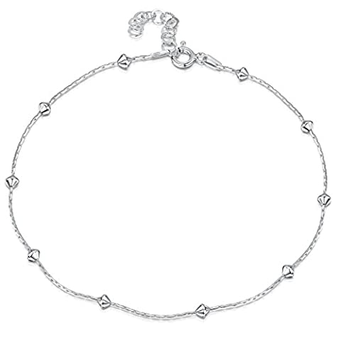 925 Fine Sterling Silver 1 mm Adjustable Anklet - Snake Chain With Diamond Shaped Beads Ankle Bracelet - 9