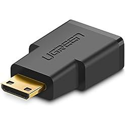 UGREEN 20101 Adaptateur Mini HDMI Mâle vers HDMI Femelle Connecteur Mini HDMI Supporte 4K 3D Full HD, Pour Raspberry Pi Zero, Canon EOS 700D, Nikon D5300 et D'autres dispositifs, Plaqué Or
