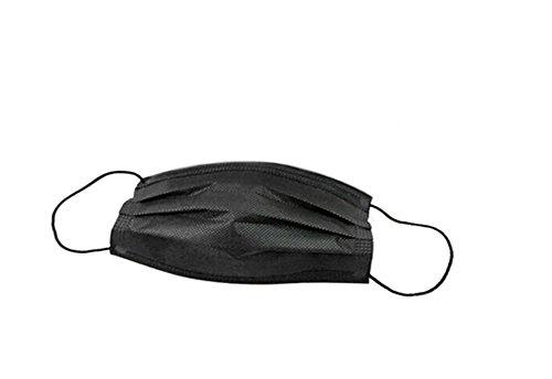 Huikafir 50 pcs Visage Bouche Masque jetable Non tissé 3 Couches Filtre à la poussière Masque (Noir)