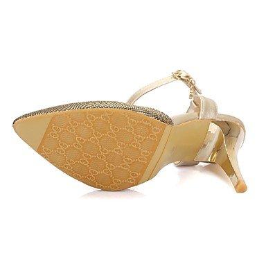 Sapato Mulheres Falso Ch Partido Vermelho De amp; Tou Vestido gloss saltos Casamento Pontudos Preto Ouro De Couro Alto Ouro amp; Salto Festa wwdqrU0