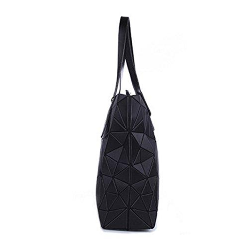 Frauen Art Und Weise PU Taschen Rautenmuster Schultertasche Top Griff Taschen Black