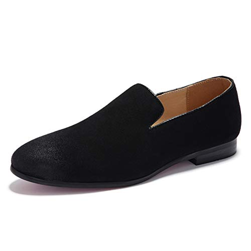 Herrenschuhe, bequeme Loafers Schuhe Fashion Driving Schuh Soft Flat Shoes Soft Loafers & Slip-One Leichtfahrt Round Toe Shoe Walking Shoe,Black,43 -