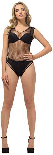 Smiffys SMIFFY 'S 48710Fischnetz Hohe Bein Body, schwarz, XS bis mittlere/Größe 6–14