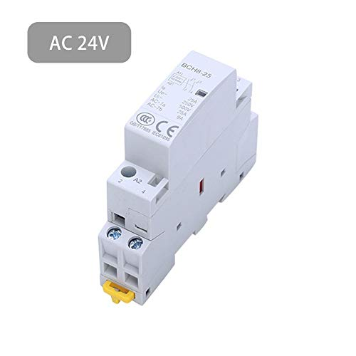 Luerme 2 Pole Two Normally Open 220V/230V Coil Voltage 35 mm DIN Rail Mount 2P 25A Household AC Contactor -