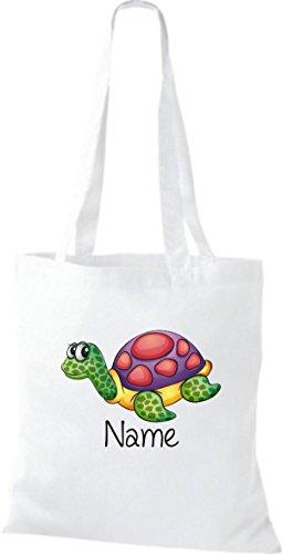 Stoffbeutel mit süßen Motiven inkl. Ihrem Wunschnamen Schildkröte Weiß