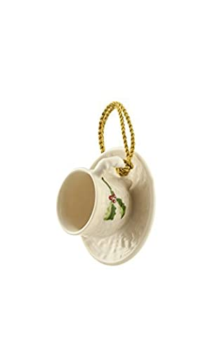 Belleek Holly Cup and Saucer Ornament by Belleek