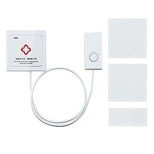 Drahtloser Pflegekraft Pager, weißer Knopf Intelligentes Anrufsystem Rufen Sie um Hilfe mit Griff Linie, Notruf für ältere Personen im Krankenhaus, Pflegeheim (Hilfe Rufen-linie)