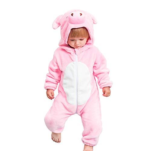 Kostüm Spielen Bleach - NELNISSA Baby Flanell Jumpsuit Winter Hooded Strampler Weicher Schneeanzug Reißverschluss Jumpsuit (Schwein 3-12M)