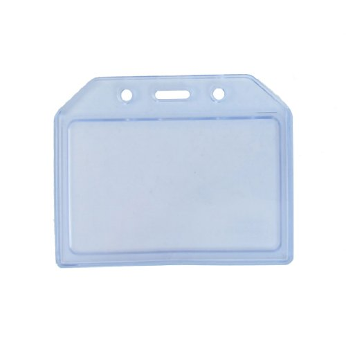 Clear Blue weichem Kunststoff Horizontal Namen ID Card Badge Holder