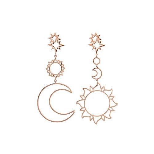 UINGKID Ohrstecker Mode Einfache Stilvolle Mode Frauen Böhmen Stern Sun Moon Hohle Ohrringe Metalllegierung Vintage Geometr -