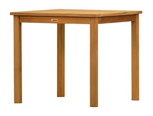 Massiver Gartentisch London aus Teakholz, 80x80cm ✓ Wetterfest ✓ Nachhaltig ✓ Robust ✓ Holztisch, Balkon-Tisch, Terrassen-Tisch ✓ Teak-Tisch, Esstisch für draußen ✓ Garten-Möbel aus Massiv-Holz -