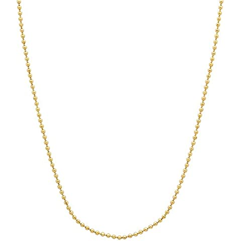 Thug Fashion - Collana con maglia a sfere, placcata oro 14 kt, 1mm - Overlay Dog Tag