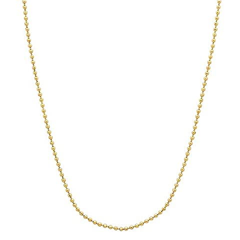 14k Gold Plated Thin 1mm Military Style Ball Link Chain Necklace, 45 cm
