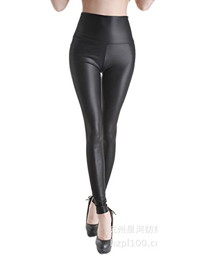 Sexy Legging Femmes de Cuir de Faux Pantalon Stretch Taille Haute Leggings Collants Noir YG