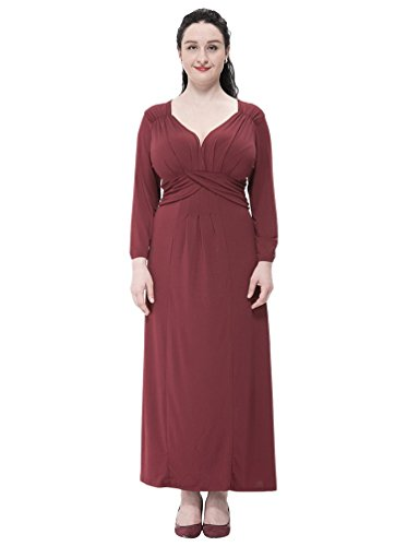 MissFox Lungo Vestito Donna, Chiffon Vestito con Scollo a V 3/4 Manica L-6XL Vino rosso