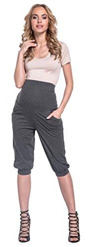Happy Mama. Femme Grossesse Elastique Taille Pantalons avec Poches. 665p Graphite Mélange