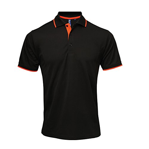 Premier Mens Contrast Coolchecker Polo Schwarz / Orange