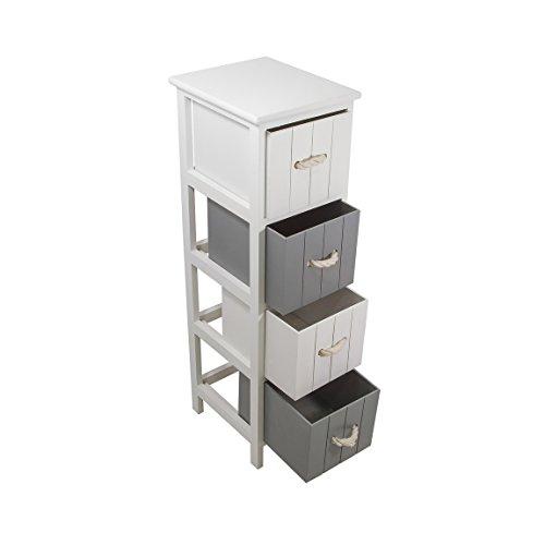FRANDIS 199307Jersay Schubladenelement, Holz, weiß lackiert, mit 4Schubladen Weiß/Grau, 25x 29x 86cm (4-schublade-waschbecken-schrank)