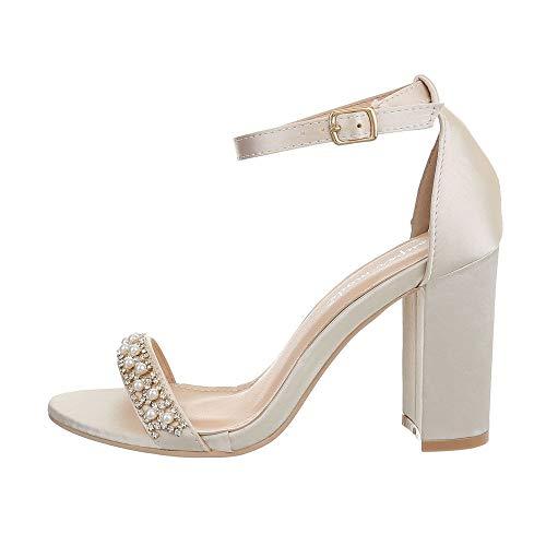 Ital-Design Damenschuhe Sandalen & Sandaletten High Heel Sandaletten Canvas Beige Gr. 38 - Canvas-high-heel-sandalen