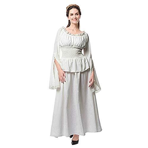 xbowo-dress Womens Vintage Maxi Kleider Retro Renaissance mittelalterlichen Kostüm viktorianischen Queen Fancy Party Abendkleid aus Schulter Langarm Prinzessin Kleid@White_5XL (White Queen Fancy Dress Kostüm)