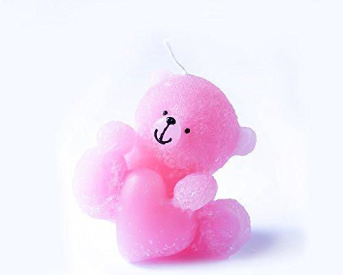 Buon regalo bello dell'orso rosa con il cuore Candela buona