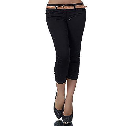 H968 Damen Chino Hose Stoffhose Capri Bermuda Sommerhose Boyfriend Shorts Gürtel, Farben:Schwarz;Größen:36 (S)