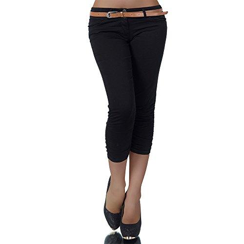 H968 Damen Chino Hose Stoffhose Capri Bermuda Sommerhose Boyfriend Shorts Gürtel, Farben:Schwarz;Größen:42 (XL)