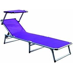 Chaise longue avec toit en aluminium 180x 50x 25cm Différents coloris. Chaise longue trois pieds Klap pliege violet