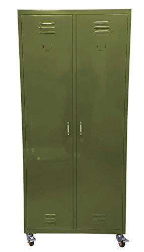 Guardaroba Con Rotelle.F T Armadio Guardaroba Spogliatoio In Metallo Speciale Multiuso Su Ruote Dim 80x40x180cm Finitura Opaca Verde Militare Opaco