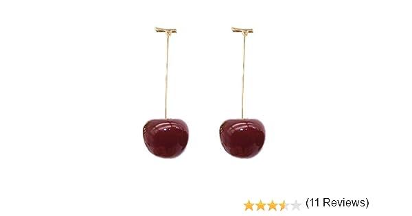 Goodplan Boucles doreilles de Cerise de Fruits de qualit/é sup/érieure Douce Douce Simulation Rouge Cercles de Fruits pour Fille Cadeau vin Rouge