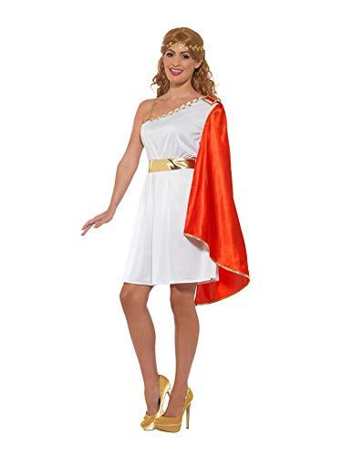 Smiffy's 47378s romain Costume de Lady, femme, Blanc et Rouge, S (Taille 08-10