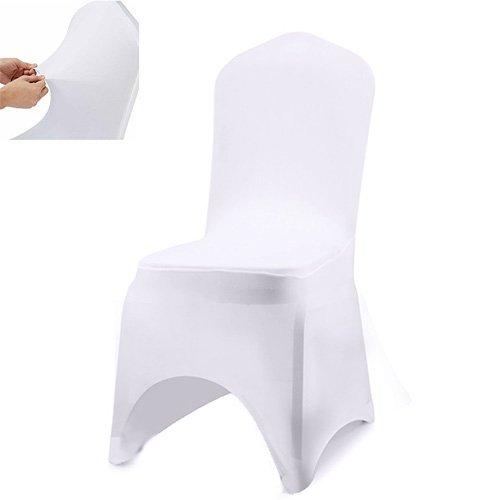 Stuhl Husse, Acelectronic 10 Stück Universell Stuhlhussen Stretchy Stuhlbezug Stuhlüberzug der Haus Hochzeit Dekoration, Arc-Shaped (Weiß)